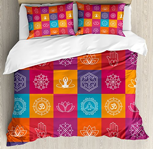 Yoga Duvet Cover Set by Ambesonne, Colorful Collection of Yoga Icons and Relaxation Symbols Wellness Harmony Health Zen, 3 Piece Bedding Set with Pillow Shams, King Size, Multicolor by Ambesonne (Image #2)