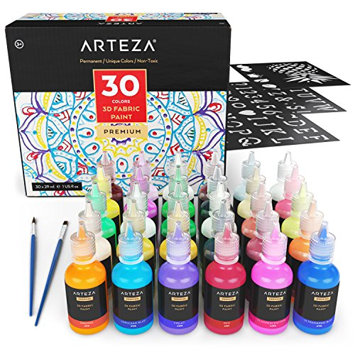 ARTEZA 3D Permanent Fabric Paint, Set of 30 Individual Colors (Include Neon & Fluorescent) for Textile, Fabric, T-Shirt, Canvas, Wood, Ceramic, Glass ()