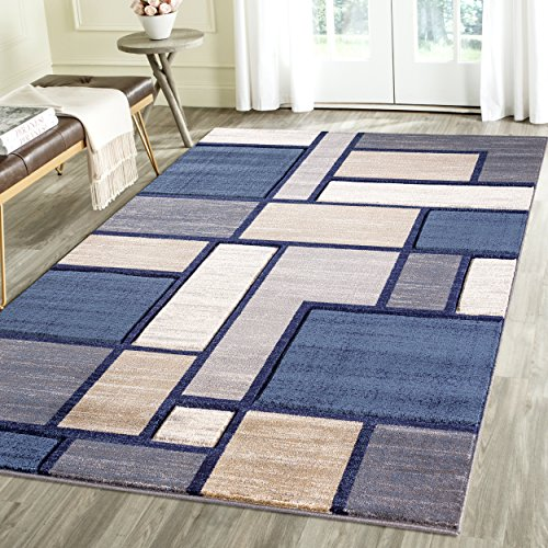Contemporary Squared Geometric Emerald Collection Carved Area Rug by Rug Deal Plus (7'11'' x 10'4'', Blue/Grey) by Rug Deal Plus