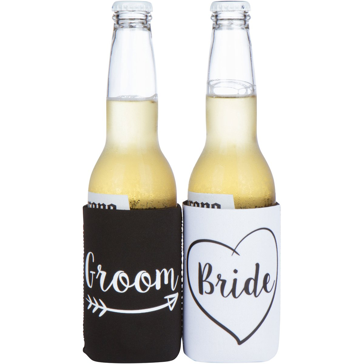 Cute Wedding Gifts - Bride and Groom Novelty Can Cooler Combo - Engagement Gift for Couples by The Plympton Company (Image #3)