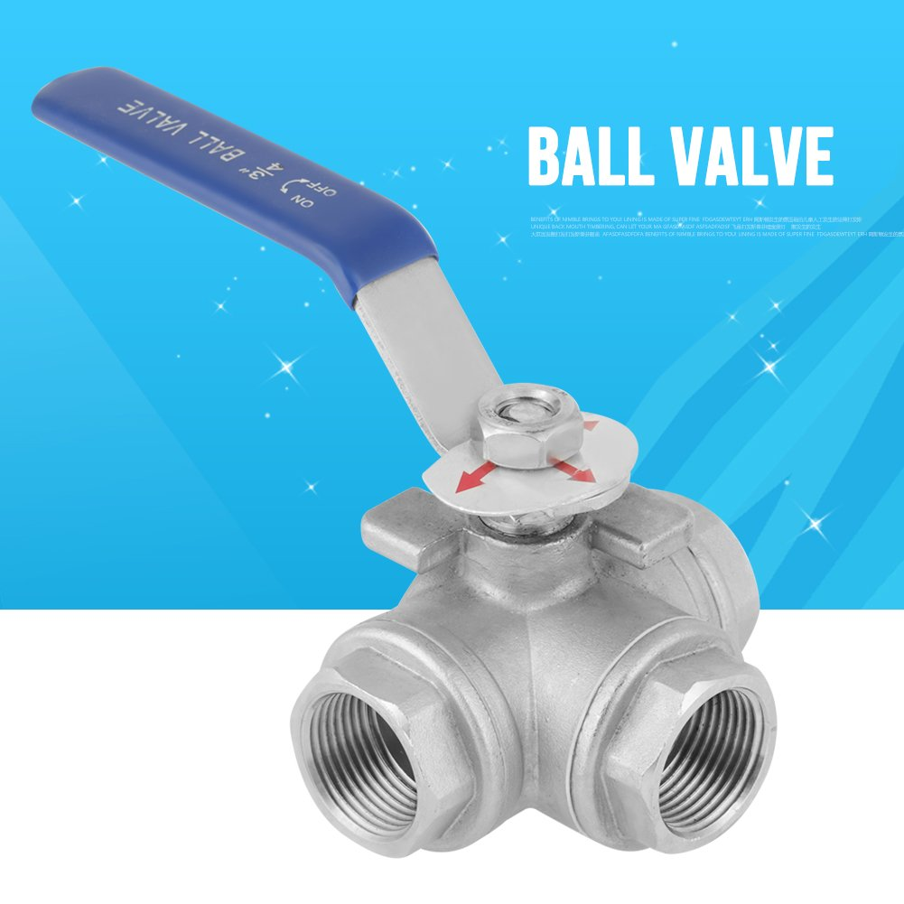 3-Way Ball Valve,T-Type Valve,Stainless Steel Female Thread 3//4,for Water Oil Steam P Nitric R Acetic Acid