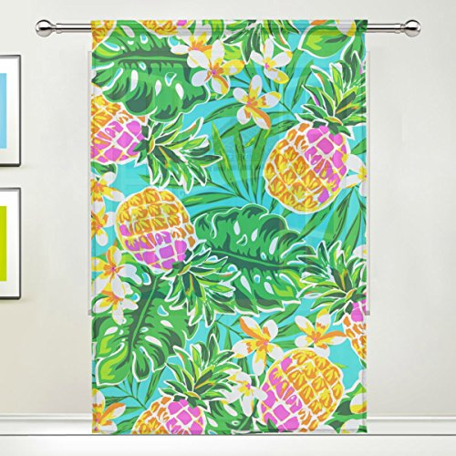 Tropical Floral Print Window Sheer Curtain Panels,55x84 inch, Gauze Curtain for Living Room Bedroom Home Deco