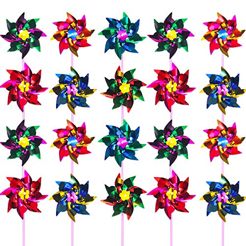 Hestya Plastic Rainbow Pinwheel, Lawn Pinwheels, Party Pinwheels Windmill Rainbow Pinwheel DIY Pinwheels Set for Kids Toy Garden Lawn Decor, 36 Pieces (15 cm, Multicolor A) -