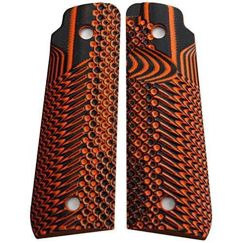 StonerCNC Ruger Mark IV 22/45 Lite Grips G10 Slash and Burn Design Fits Ruger 22 45 Lite Generation 4 Rimfire Pistol (Orange Black) ()