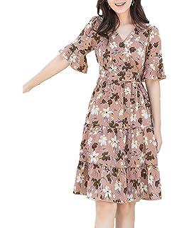 00fb6cf52504f  ジョリサラ  花柄 フリル カシュクール ワンピース 大人 可愛い 半袖 切り替え ワンピ M ~ XL