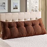 MisDress Sofa Bed Large Filled Triangle Wedge Cushion Solid Bed Back Support Pillow Cotton Reading Rest Pillow Best for Back Lumbar Spine Pain Relief,Brown,71''x19.5''x9.8''