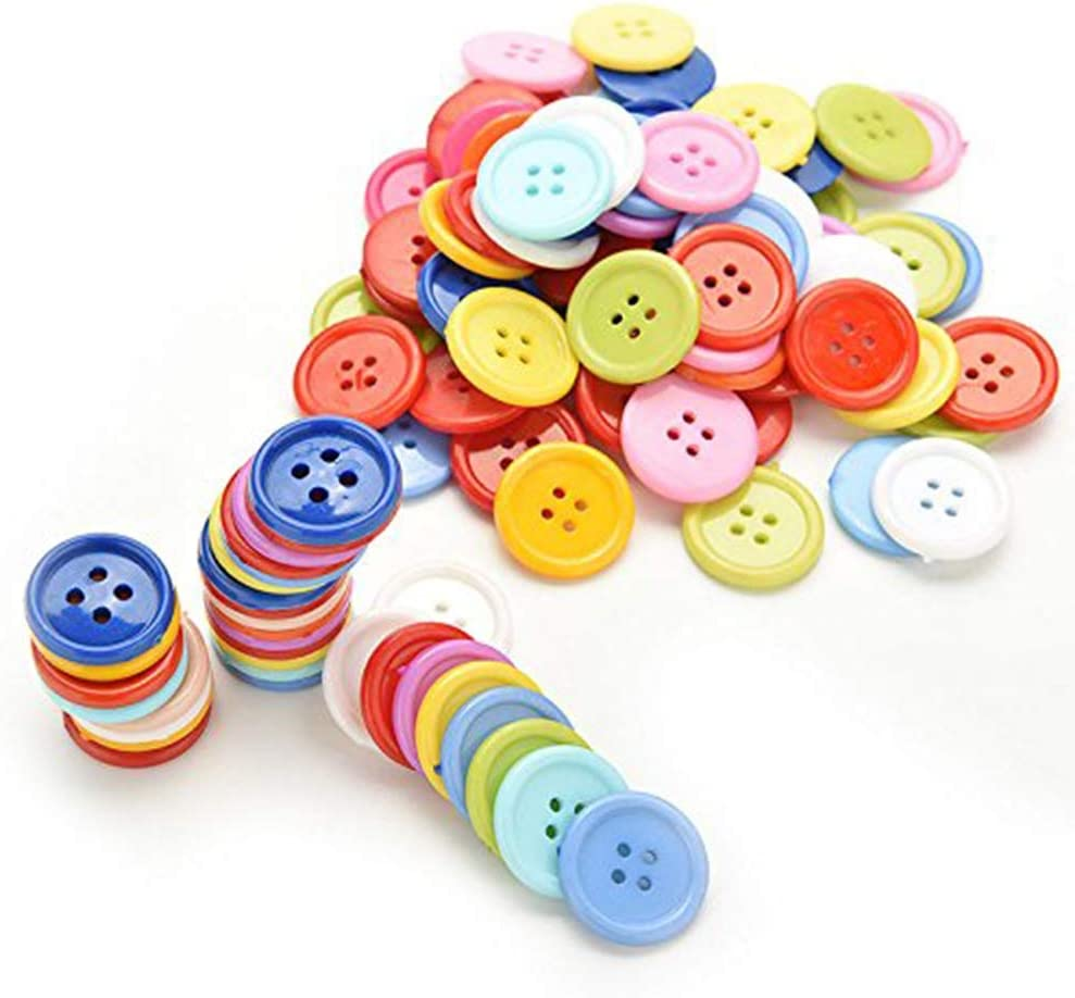 100 PCS Craft Buttons Assorted Mixed Color Resin Round Sewing Button 2 and 4 Holes for Art Crafts DIY Handmade Project Childrens Manual Button Painting