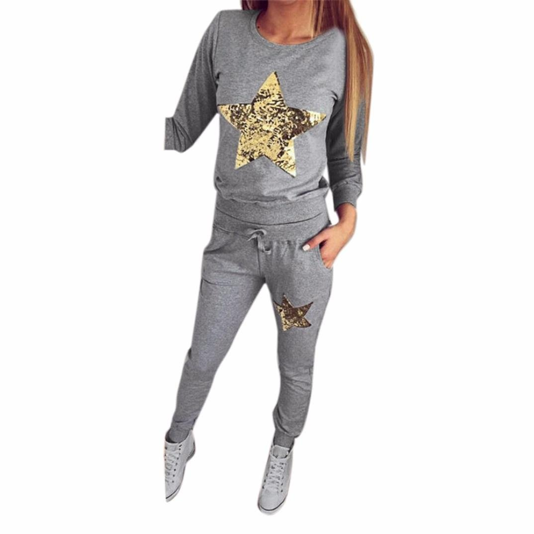 Han Shi Star Bling Blouse Pants, Women Appliques Long Sleeve Hoodies Casual Trousers (L, Gray)