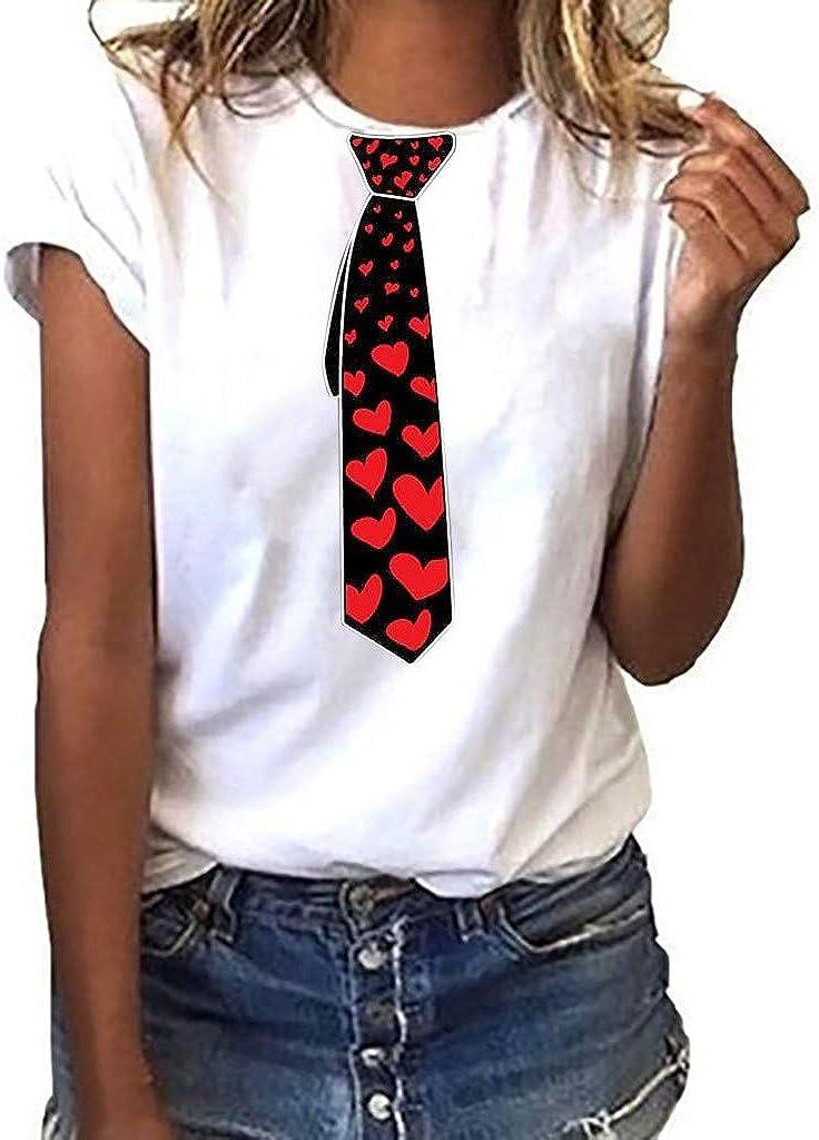 Miuye Womens Shirts Summer Creative Pattern Print Tops Short Sleeve T-Shirts Blouse Tee Tunic