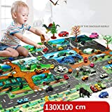 Dinosaur World Jurassic Park Scene Play Mat Kids Educational Toy Play Map with 18 Pcs Traffic Signs,Great for Playing with Cars and Toys
