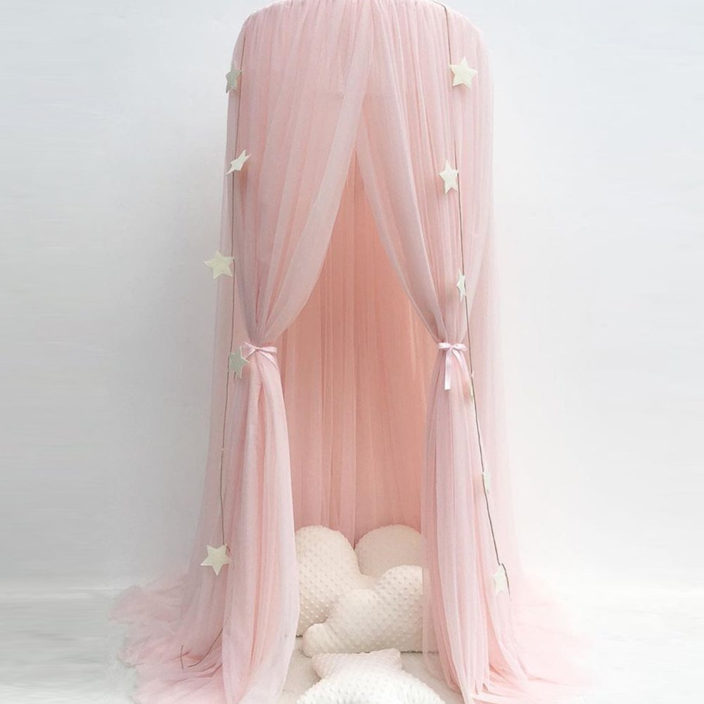 Luerme Dome Fantasy Champion Netting Curtains Play Tent Bed Canopy Mosquito Net Bedding with Round Lace Baby Boys Girls Games House for Kids' Playing Reading (Pink) by Luerme (Image #3)