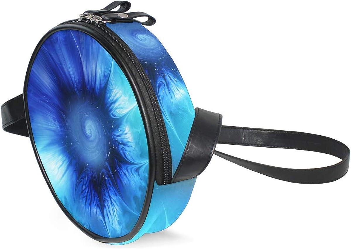 KEAKIA Fractal Print Round Crossbody Bag Shoulder Sling Bag Handbag Purse Satchel Shoulder Bag for Kids Women