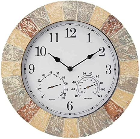 GUANGQING Outdoor Waterproof Wall Clock with Thermometer Station Garden Decoration 13.4 Inch Slate Effect Patio Living Room Hanging Clock Living Room Bedroom Office Wall Clock