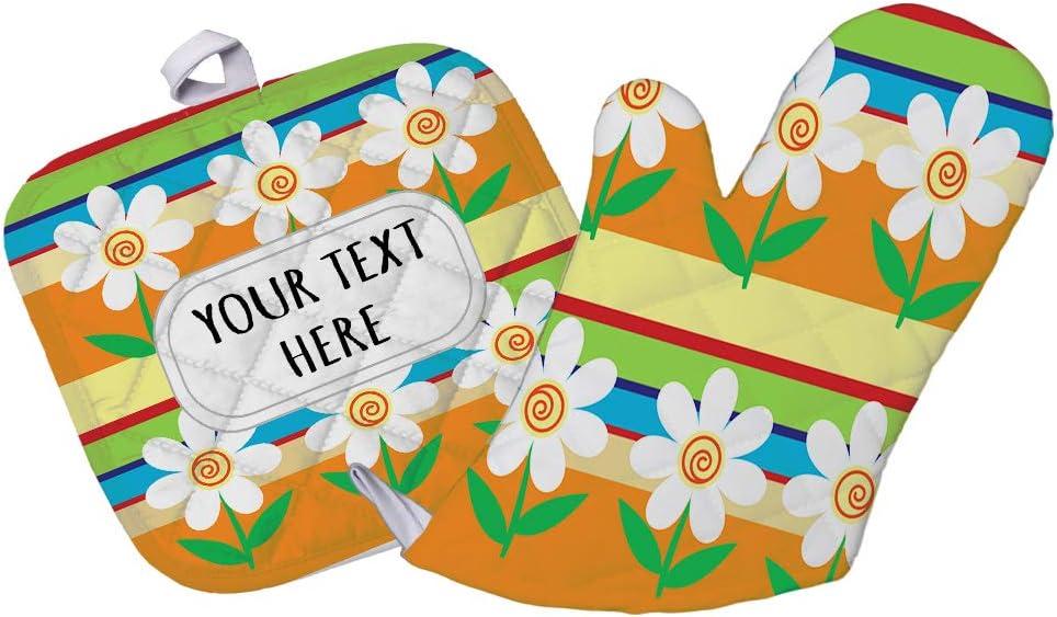 Polyester Oven Mitt & Pot Holder Set Custom Daisy Flower Seemless Pattern A Adults