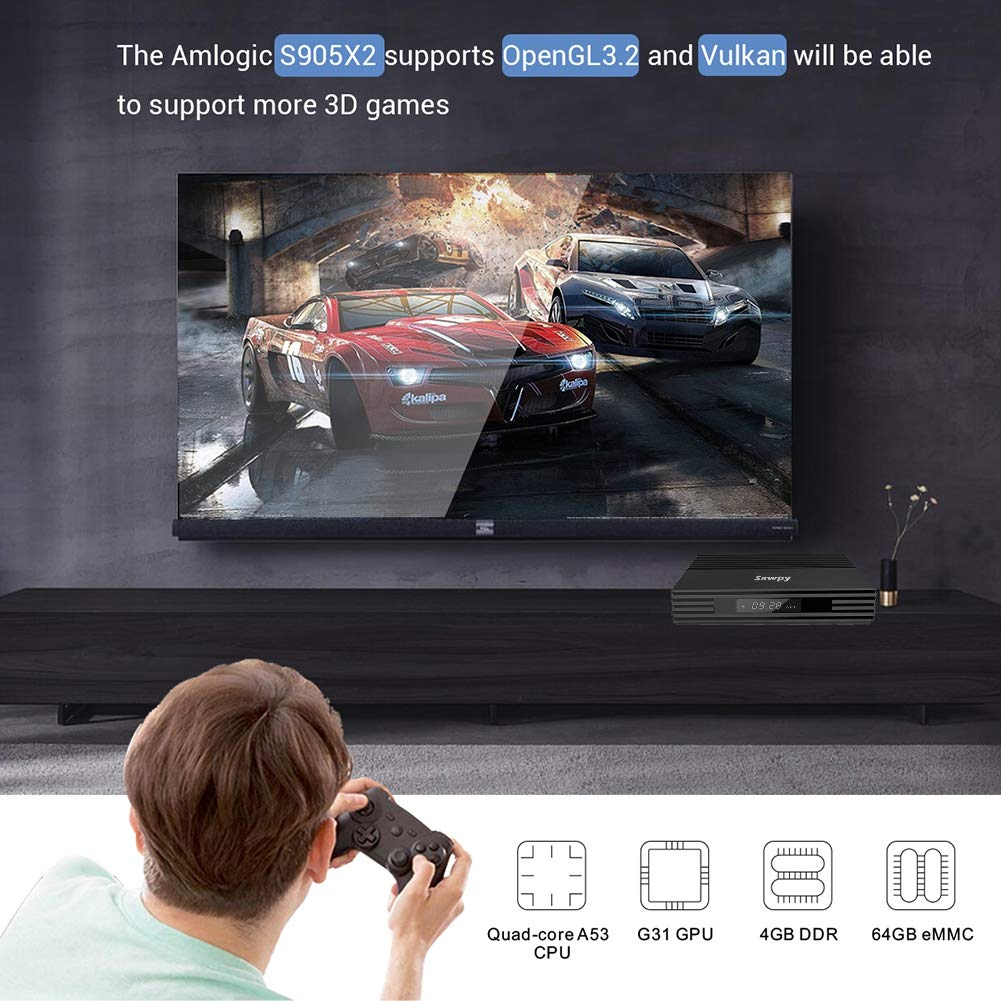 Android tv Box 9.0 32GB ROM 4K 2.4GhZ WiFi Bluetooth 4.2 Smart TV Box Sawpy F2 Android tv Box 4GB RAM DDR3