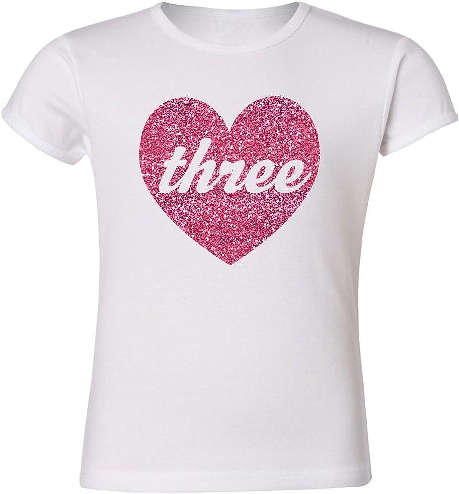 Zoeys Attic Third Birthday Pink Sparkly Heart Girls Cut Three Shirt