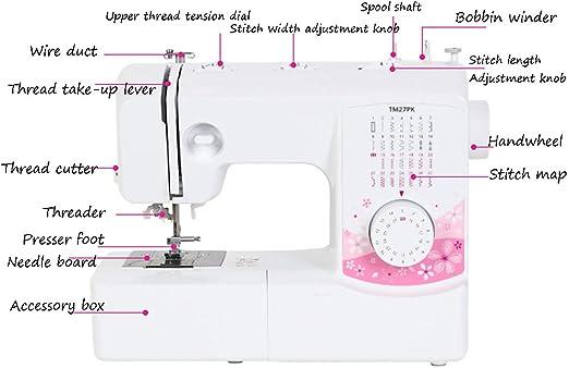 Máquina de coser portátil eléctrica, máquina de coser multifunción doméstica con luz LED y pedal, 27 patrones de puntada incorporados, herramienta de costura de doble hilo de 2 velocidades: Amazon.es: Hogar