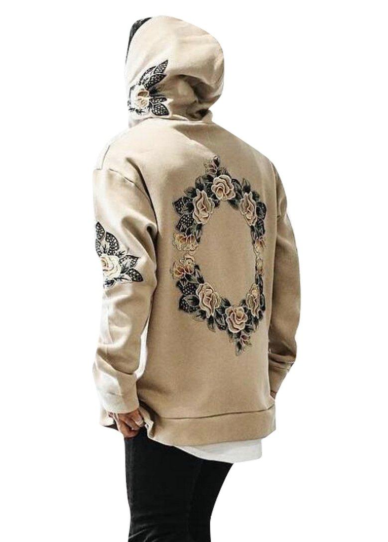 LD Mens Stylish Rose Floral Print Long Sleeve Loose Hoodies Sweatshirt Khaki L