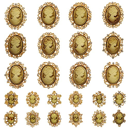 Cameo Pin Flower Brooch (WeimanJewelry Lot 24pcs Classic Crystal Rhinestone Flower Vintage Victorian Cameo Brooch Pin set for Women (Gold))