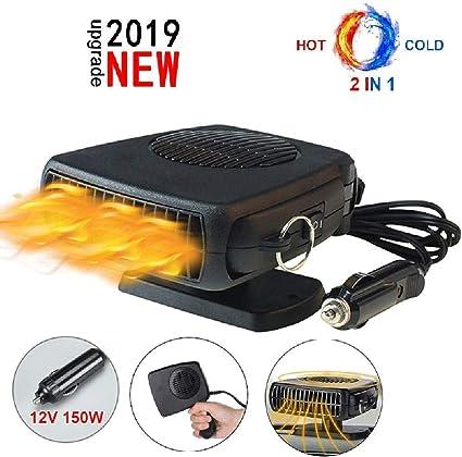 Titcch 2 en 1 Calentador de Coche portátil 12 V ,150 W Ventilador de refrigeración para calefacción, descongelador de Coche, Enchufe para mechero con Soporte Giratorio de 360 Grados y Cable 1.5M: