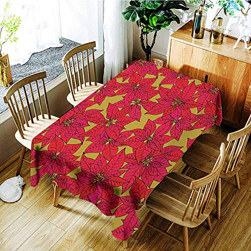 (Beihai1Sun Water Resistant Table Cloth,Seamless Background with Poinsettia,Dinner Picnic Table Cloth Home Decoration,W60x84L)