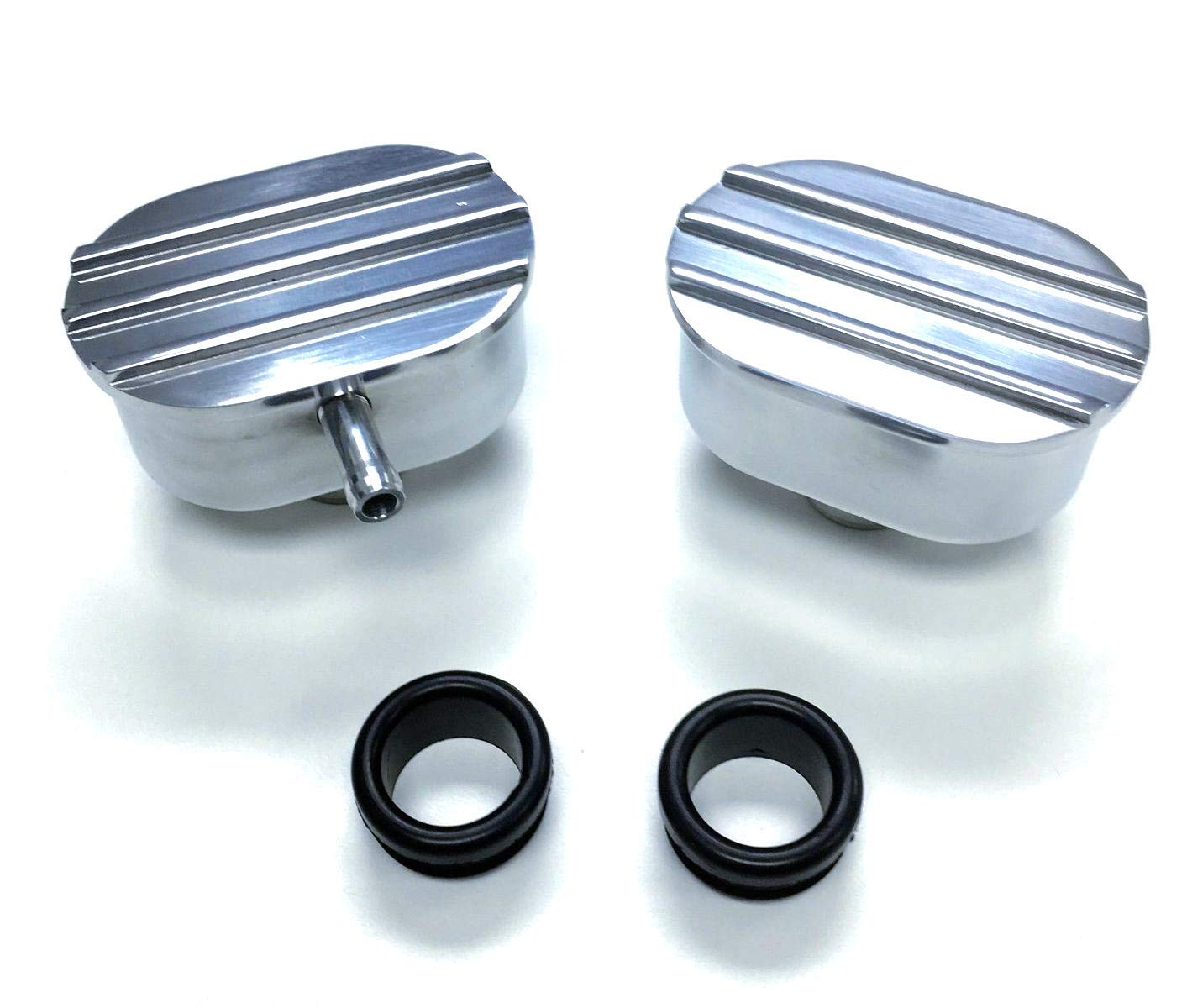 Pirate Mfg Hot Rod Polished Billet Alum Round Ball Milled Valve Cover Breather W//Grommet
