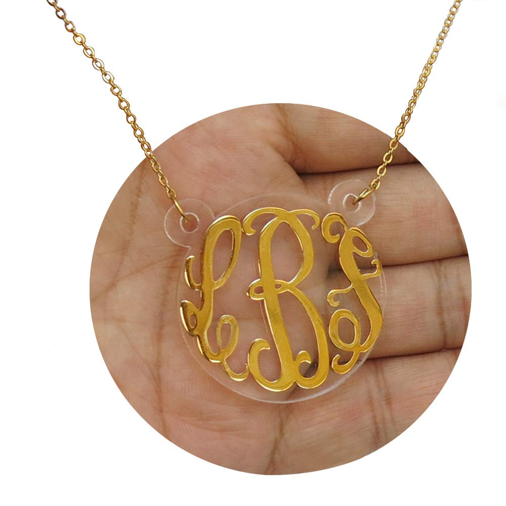 ProLuckis Monogram Bar Necklace Personalized Initial Necklace 18k Silver Plated Custom Made Any Name