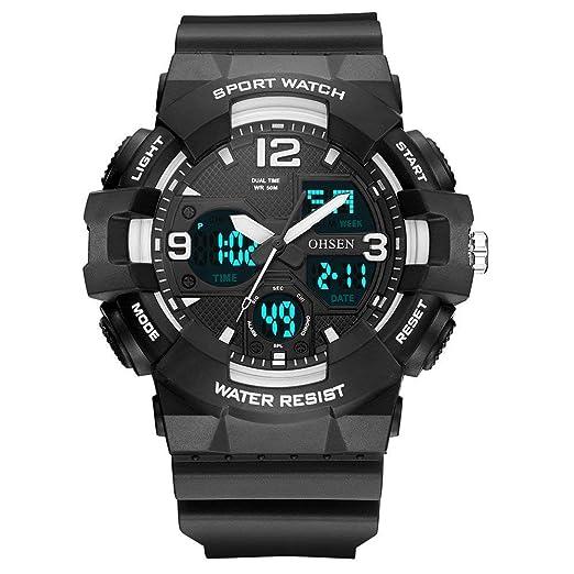 OHSEN AD1711 Reloj electrónico de Silicona multifunción para Hombre con multifunción Deportivo.: Amazon.es: Relojes