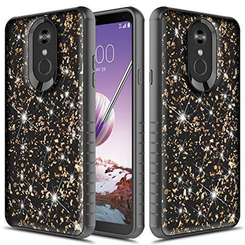 Q Stylus Case, LG Stylo 4 Plus Case, TownShop Glitter Bling Heavy Duty Dual Layer Shockproof Bumper Case - Black/Gold ()