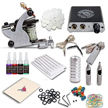 Amazon Complete Tattoo Kit Machines Color Inks Power Supply Y