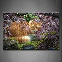 First Wall Art - Yellow Cat Hide In Pink Tree Wall Art Painting Pictures Print On Canvas Animal The Picture For Home Modern Decoration