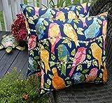 Set of 2 Indoor / Outdoor 20'' Decorative Throw Pillows - Ash Hill Garden Bird - Blue, Yellow, Pink, Green