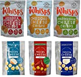 Low Carb, Gluten Free, High Protein, 100% Cheese; Whisps Cheese Crisps Parmesan, Cheddar & Asiago Pepper Jack (2.12oz) and Moon Cheese Gouda, Mozzarella & Monterey Jack Sriracha (2oz) 6 Pack Bundle For Sale
