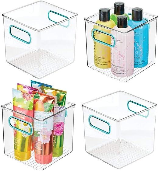 mDesign Juego de 4 cajas de plástico con asas integradas ...