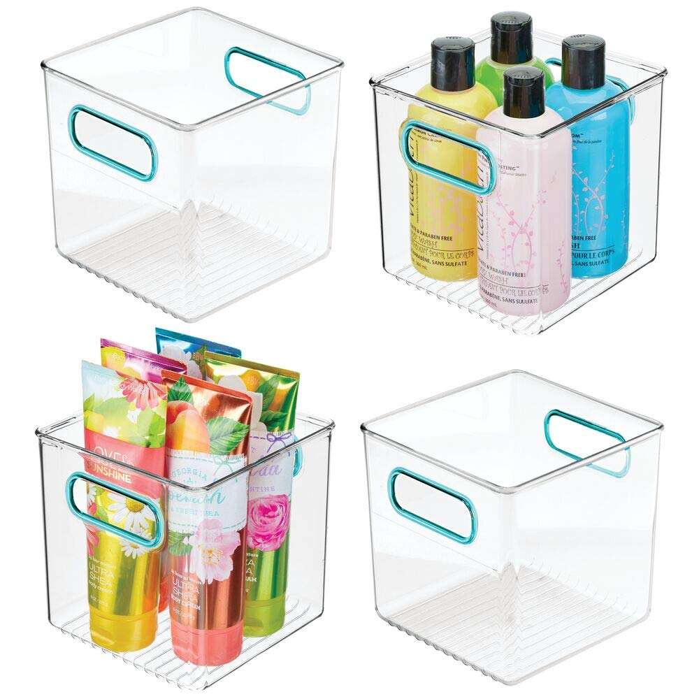mDesign Plastic Storage Organizer Container Cube Bin Holders with Handles - for Bathroom Vanity Countertops, Shelves, Cabinets Organization - 4 Pack - Clear/Blue