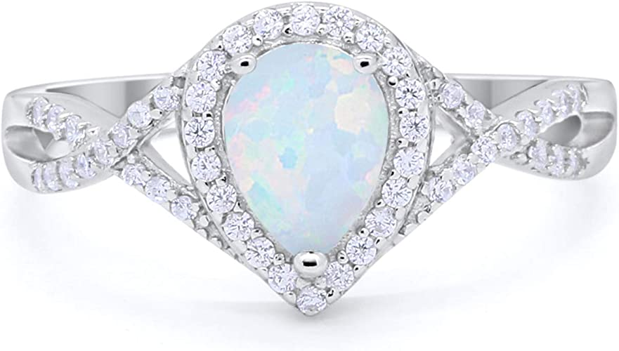 Teardrop Engagement Ring Pear Lab Opal Simulated Round CZ 925 Sterling Silver