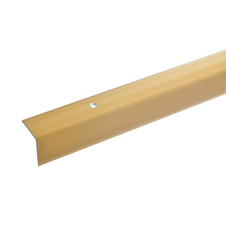 acerto 51050 Profil d'angle d'escalier en aluminium - 135cm, 32x30mm, or * Antidérapant * Robuste * Montage facile | Profil de bord d'escalier, profil de marche en aluminium