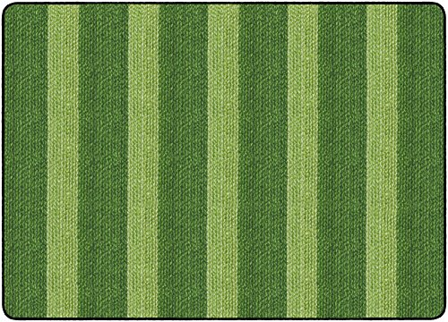 Flagship Carpets FA1007-32FS Cozy Basketweave Stripes/Green, - Basketweave Green Rug