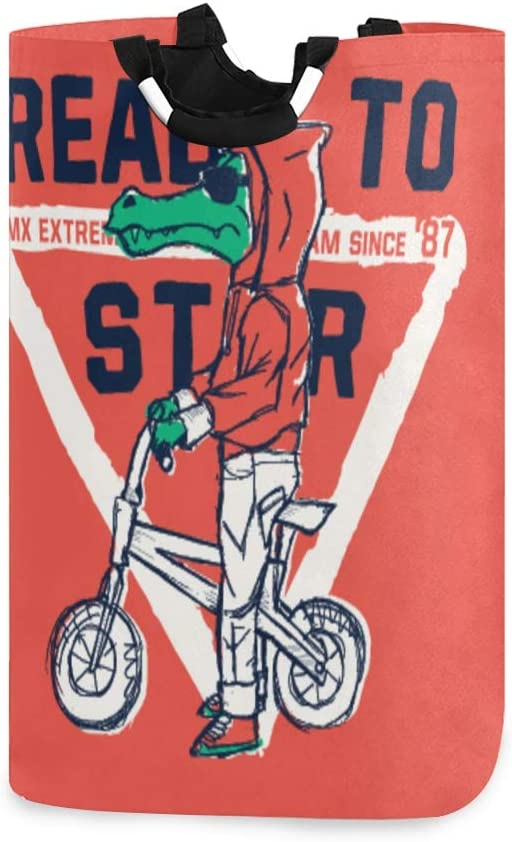 DAOPUDA Angry Crocodile On BMX Vector Illustration Large Laundry Hamper Bags for Heavy-Duty Use with Strap,Standing Clothes Basket Collapsible for Dorm Travel Bathroom