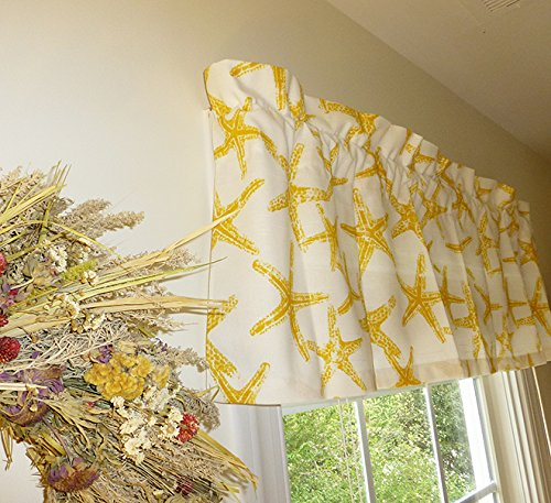 Yellow and White Window Curtain Valance with Ruffled Top