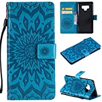 A-slim Samsung Note 9 case,Note 9 Wallet case,PU Leather Case Sun Flower Pattern Embossed Purse with Kickstand and Flip Cover Card Holders & Hand Strap for Samsung Galaxy Note 9 2018 (6.4inch) Blue