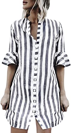 ShallGood Mujer Camisas Rayas Manga De Cuerno De Mujer Media Manga Tops Blusa Larga Camisas Mujer Elegantes Cuello En V Casual Moda Tops Camisetas Ropa: Amazon.es: Ropa y accesorios