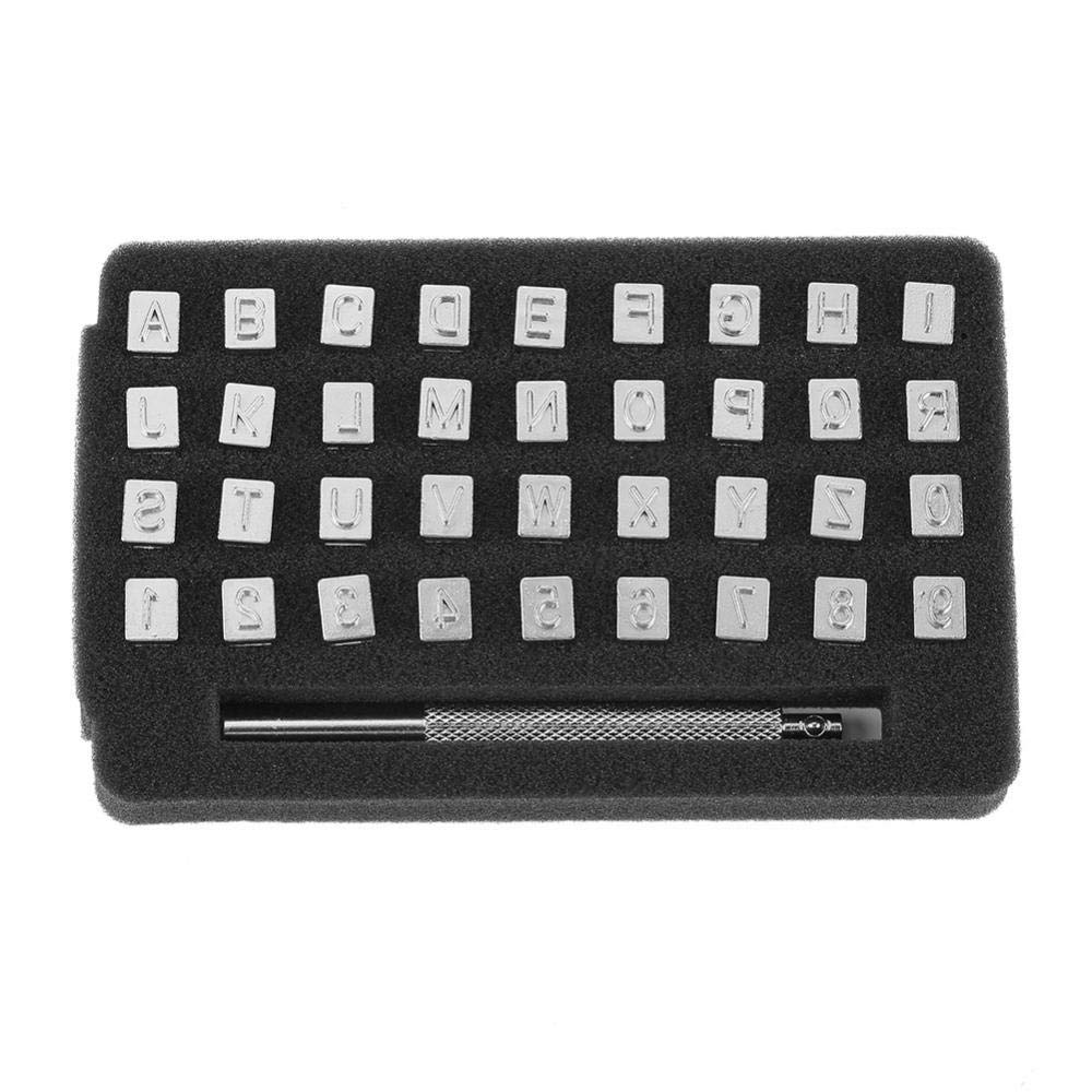 3mm 36Pcs Alloy Steel Alphabet and Number Stamp Kit with Anti Slip Handle for DIY Leather Jacket Bags Shoes Belt Wallet Leather Stamping Tools