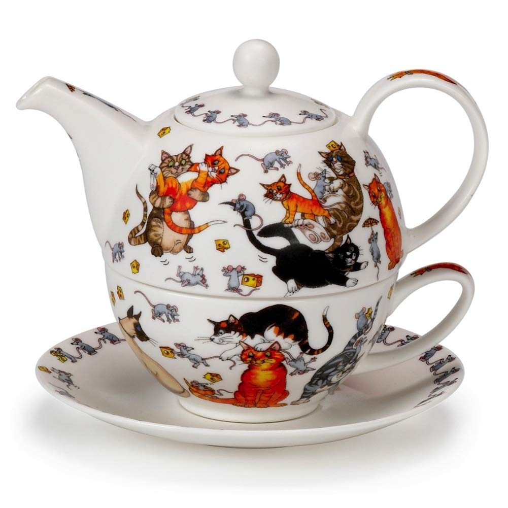 Dunoon Commical Pussy Galore' Cat Kitten Fine Bone China Tea One Teapot Cup Saucer Set