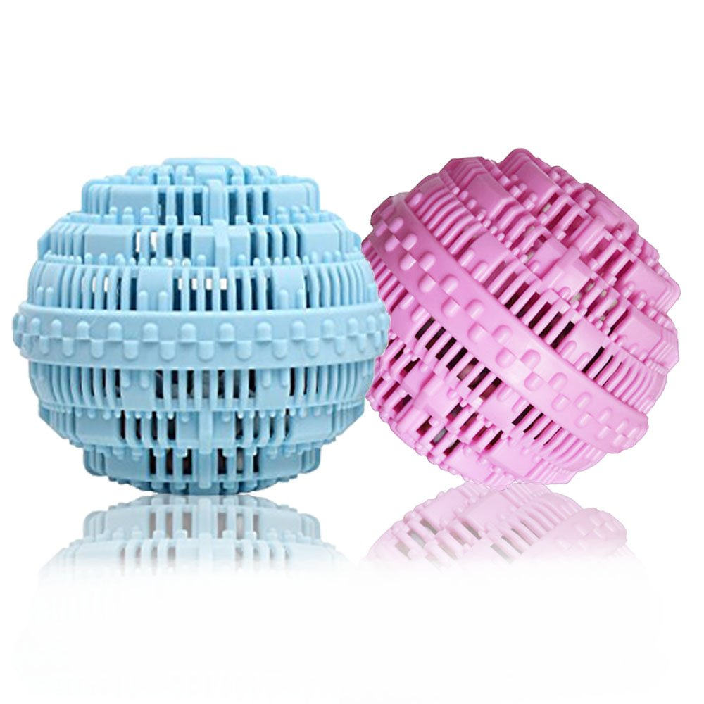 BERON Eco-Friendly Wash Ball Super Laundry Balls for 1500 Washings,Set of 2(Light Blue and Light Purple)