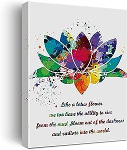 Lotus Flower Art Watercolor Poster Canvas Wall Art for Home/Bedroom/Yoga Studio Decor - Yoga Meditation Chakra Art Canvas Print Wall Art Painting Ready to Hang Spiritual Gifts - Easel & Hanging Hook 12x15 Inch
