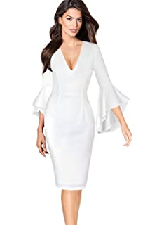 f15d4f401f VFSHOW Womens Sexy V Neck Ruffle Bell Sleeve Cocktail Party Sheath Dress