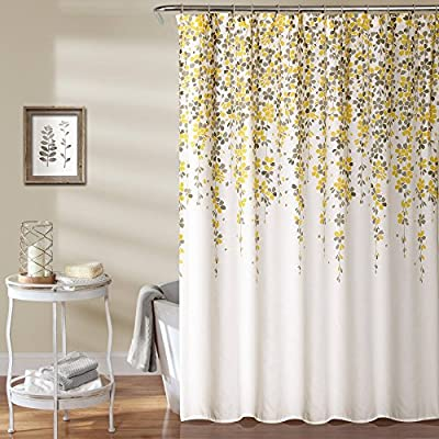 Lush Decor Weeping Flower Polyester Shower Curtain - Dimensions: 72W x 72H in. Created with polyester Machine was in cold water - shower-curtains, bathroom-linens, bathroom - 61sV0PpMMuL. SS400  -