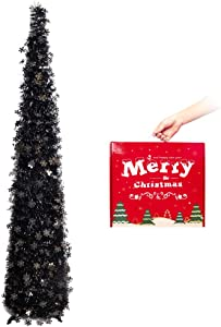 MACTING Halloween Christmas Tinsel Tree with Stand, 5ft Pop up Easy-Assembly Coastal Glittery Snowflake Christmas Tree for Holiday Xmas Decoration (Black)