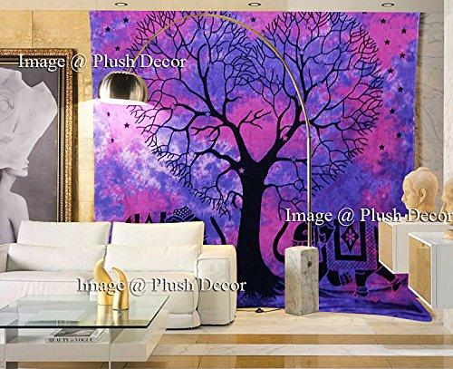 Exclusive Pink Purple Heart Tree Elephant Tapestry Tie Dye Tapestries Bohemian Indian Large Hippie Boho Wall Hanging Hippy Beach Throw Art - Plush Decor - Exclusive Elephant